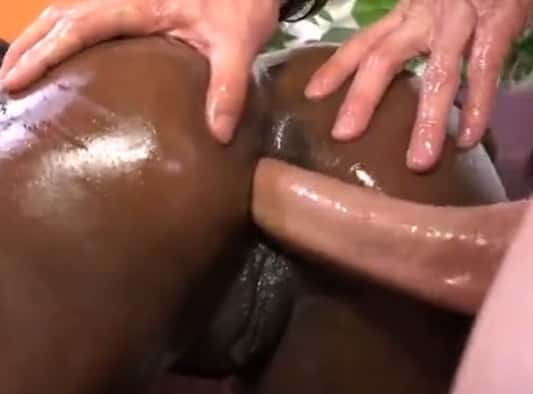 Huge Cock and Hot Ebony In An Interracial Anal